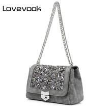 LOVEVOOK brand chain shoulder bag female fashion canvas handbags women famous brands messenger bags with high quality diamonds
