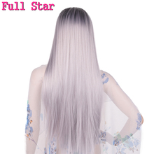 Full Star Ombre Gray Wig Synthetic Kanekalon Hair 60cm 280g Long Silky Straight Full Head Black Grey Wigs for Women Hair(China)