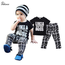 Summer Babies Boy Letter Casual T-shirt+Pants 2pcs Outfit Baby Kids Boys Cool Boss Outfits Short Sleeve Summer Cotton Clothes