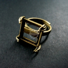 15mm square base tray setting antiqued brass bronze steam punk claw engraved adjustable ring jewelry findings 1294013