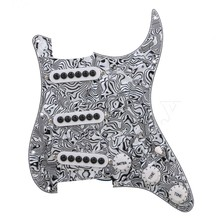 Yibuy Black White Zebra Color 3-ply SSS Electric Guitar Loaded Prewired Pickup Pickguard for Electric Guitar