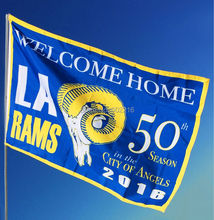 LA Rams Welcome Home 2 Los Angeles Large Outdoor Team Flag 3ft x 5ft Football Hockey USA Flag