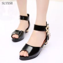 SLYXSH 2017 Kids Girls Princess Sandals Diamonds High Heel Children Girl Wedding Shoes Girl Dress Party Shoes For Girls