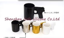 48set=96pcs Creative Gun Style Handle Ceramic Coffee Water Mug Cup 100ml Funny creative pistol shape ceramic cup ceramic cup(China)