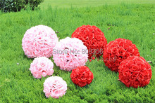 4pcs 23cm Diameter Kissing Balls Rose Flowers Ball for Wedding Party Suppermarket Floral Decoration 7 Colors(China)