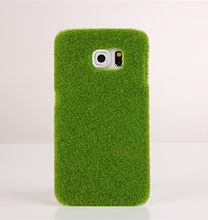 Hot Sale Japan Simulation Green Grass Lawn Plush PC+cotton 3D Case For Samsung Galaxy S6 S6 edge Cover Capa Para Fundas