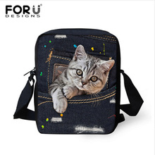 FORUDESIGNS Cat bag Crossbody Bag for Women Handtasche Mini Shoulder Bag Bulldog Baobao Cute Cartoon Denim Bags Girls Handbag(China)