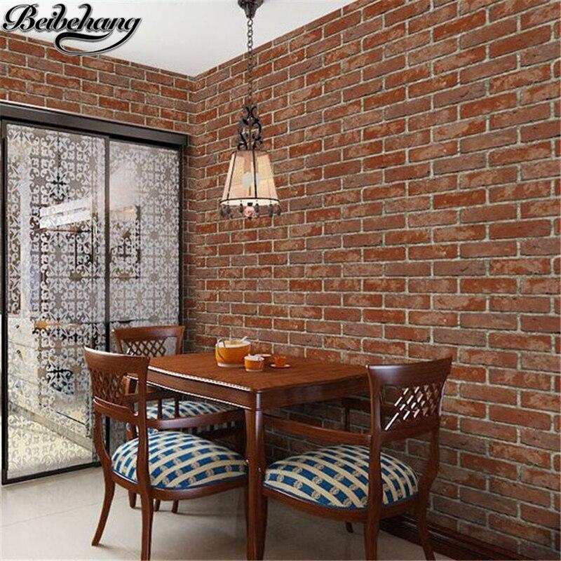 beibehang papapel de parede Antique Wallpaper Personality Retro Brick Wallpaper 3D Brick Red Tile Restaurant Shop Wallpaper<br>