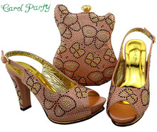 Peach Color Shoes and Bag Set Decorated with Rhinestone Nigerian Shoes and Bag Set for Women Italian Design BCH-35