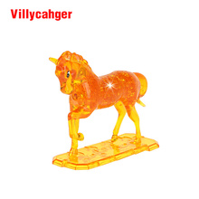 13.5 cm x 16.5 cm 3D Puzzle DIY Model Buliding Toy Children Home Decoration - Yellow or White horse drop shipped(China)