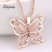 2017 New Fashion Rose Gold Color Butterfly Chokers Necklaces Cat Eye Stone Long Pendant Necklace Women Jewelry 1 Pcs(China)