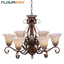 Floureon 6-Light Antique Chandelier,Retro European-Style,20W~50W E27,Oil Paint Steel Construction Glass Shade Chandeliers(China)