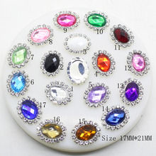 Factory Store 10pcs/set 17mm*21mm Oval Flatback Rhinestone Buttons Mix Acrylic Wedding Invitation Card Ribbon Bow Decoration(China)