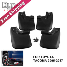 Free shipping 4pcs Mud Flaps Mud Guards Splash Guards Front & Rear Molded For Toyota Tacoma 2005-2015 Black WE007(China)