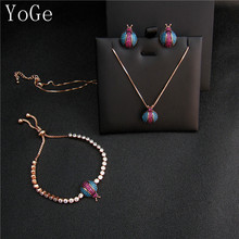 YoGe S8339 Unique AAA cubic zirconia multicolour bug beetle shaped necklace stud earrings set for women ladybird pink gold(China)