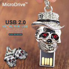 Retail 4gb 8gb 16gb 32gb metal silver skull head skeleton Usb drive crystal death shape USB 2.0 flash drive memory pen disk gift