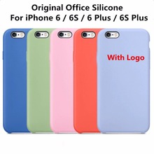 Original 1:1 Copy Office Silicone Case For iPhone 6 6s High Quality Phone Cover Cases For iPhone 6 6s Plus With Logo Coque Funda