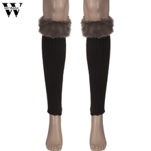 Amazing 1 Pair Solid Color Winter Knitted Faux Fur Leg Warmers for Women Adult 2016 New(China)