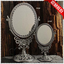 Large size 2X magnifying antique double-face dressing table desktop standing retro tin metal makeup cosmetic mirror large J018(China)
