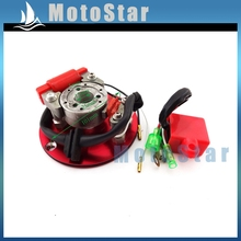 Red Motorcycle Racing Magneto Stator Rotor Ignition CDI Box Kit For 110cc 125cc 140cc Engine Chinese Lifan YX Pit Dirt Bike