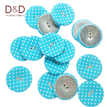 D&D 15pcs/lot Round Metal&Fabric with Colorful Dot Button Fabric Covered Buttons For Clothes Sewing Supplies(China)