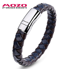 MOZO FASHION Men Bracelet Woven Leather Rope Handmade Bracelet Stainless Steel Magnetic Clasps Bracelets Vintage Jewelry PS2006