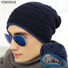VISNXGI Unisex Beanie Winter Hats Cap Men Women Stocking Hat Beanies Stripe Knitted Hiphop Hat Male Female Warm Wool Cap Winter