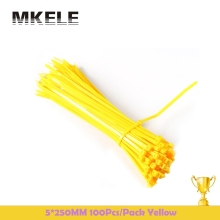 New Arrivals 5*250mm Self-Locking Nylon Cable Plastic Ties Straps 100Pcs/Pack Colorful Zip Loop Wires Tidy Sort Colours Yellow(China)