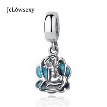 Jclowsexy Authentic 925 Sterling Silver Charm Lovely Mermaid Green Seashell Glaze DIY Pendants Beads Fit Pandora Bracelets(China)