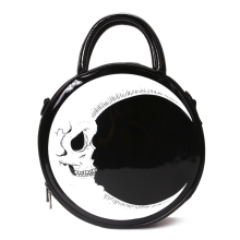 Women Lady Girl Punk Dark Skull Head Thunder Flash Printed Gothic Cross Body MOON Messenger Bag Round Handbag Harajuku Gift(China)