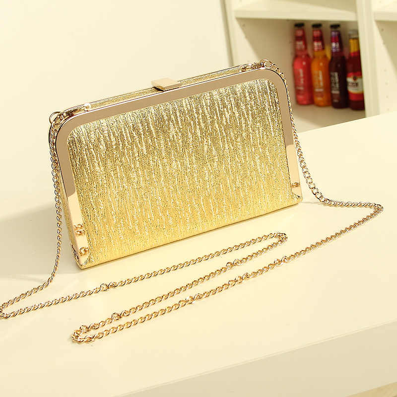 Women Evening Bag Clutch Bags Clutches Lady Wedding Purse Chain Wedding  Handbags Silver Gold  6798f8a46168f
