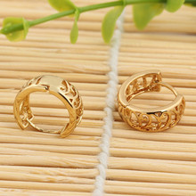 Gold Color Exquisite High-end Vintage Round Small Hoop Earrings For Women Brincos Top Brand Luxury Jewelry Sale(China)