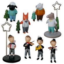 Free shipping 4pcs/set Resin Photo Clips Musician Animals Figures toys modern home office decoration party birthday gifts