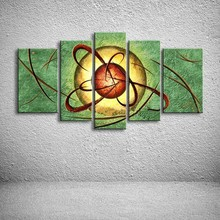 Hand Painted Canvas Oil Paintings Modern Home Decor Wall Art Graffiti Green Acrylic Pictures 5 Panel Painting Bedroom Wallpaper