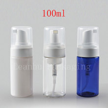 100ml Empty DIY plastic Foaming soap pump bottle, bubble liquid soap bottles,foam pump bottles , DIY pump foam bottle blue white(China)