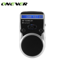 Onever New Sunvisor Solar Wireless Bluetooth Handsfree Car Kit Speakerphone Audio Music Speaker with Car charger For smartphones(China)