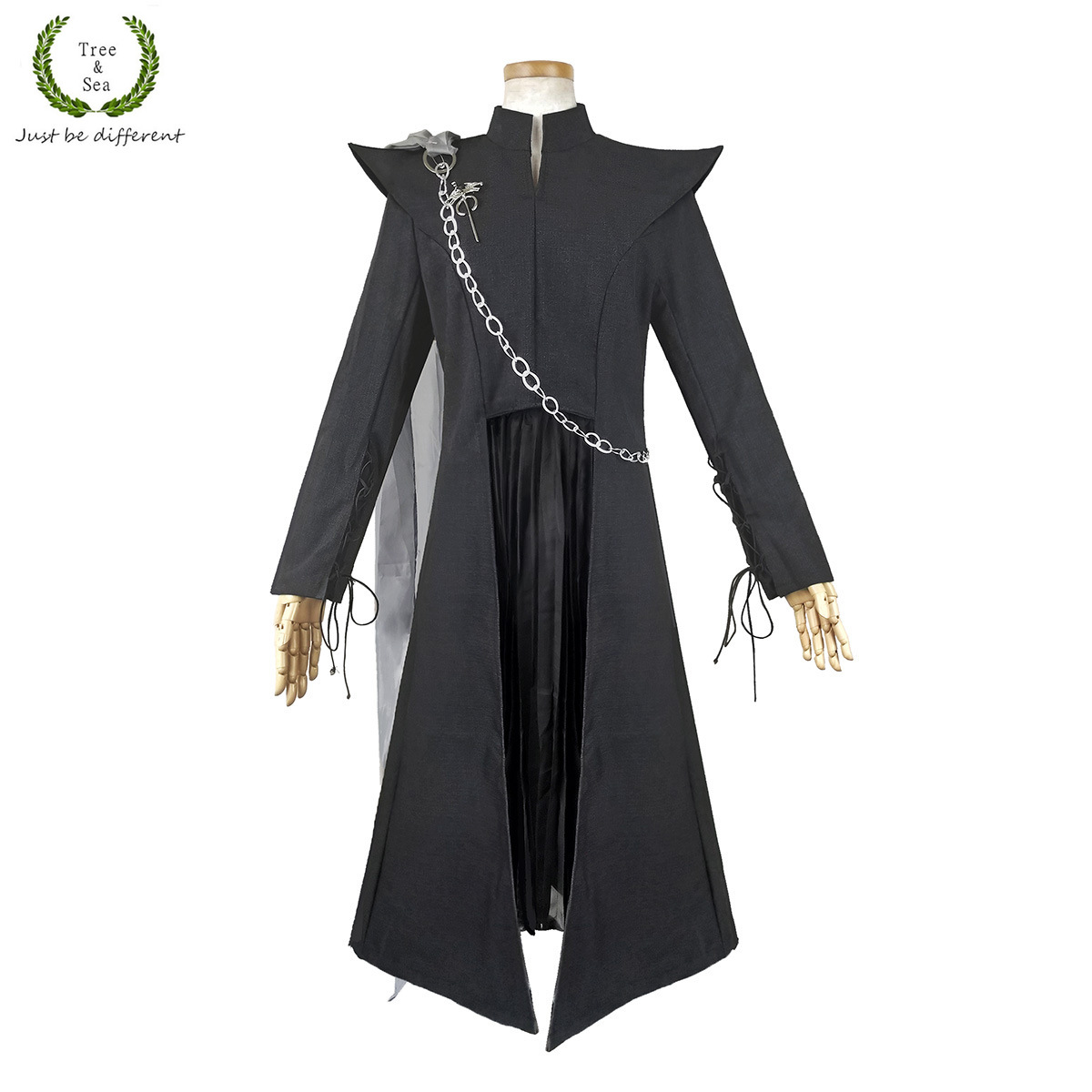Halloween Women Game of Thrones Daenerys Targaryen costume Mother of Dragons Black suits dress with cape any size