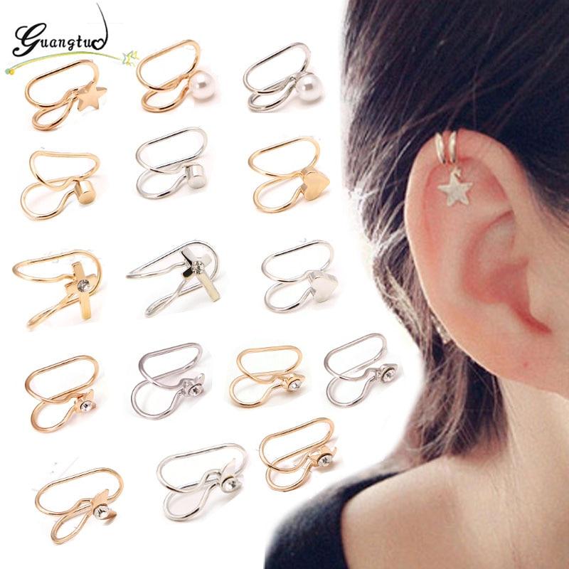 9PCS//Set Fashion Ear Clip Boho Ear Cuff Stud Cristal Perle Oreille Boucles D/'oreilles Bijoux