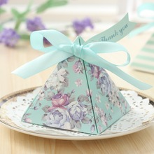 20pcs European Triangular Pyramid Light blue Floral Wedding Favors Candy Boxes Present Gifts Box(China)