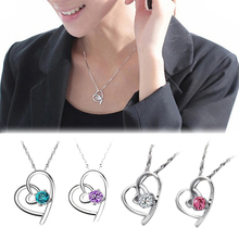 Fashion Heart-shaped Rhinestone Only Your Heart Pendant Necklace Jewelry Accessories White Blue Pink Purple(China)