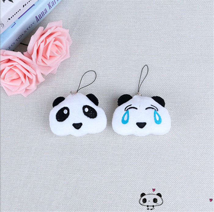 Fashion Panda Emoji Plush Toys Key Chain Ring Pom Bear Keychain Woman Bag Charms Man Car Keyring Wedding Party Trinket Jewelry (8)