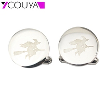 2016 Halloween Witch Wizard Cloak Gown Enchanter round cufflink with witch laser picture in stainless steel jewelry C10001(China)