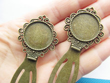 10pcs Antique Bronze Hair Kanzashi/Bookmark Base Setting Tray Bezel Pendant Charm,Fit 20mm Cabochon/Picture/Cameo,DIY Accessory