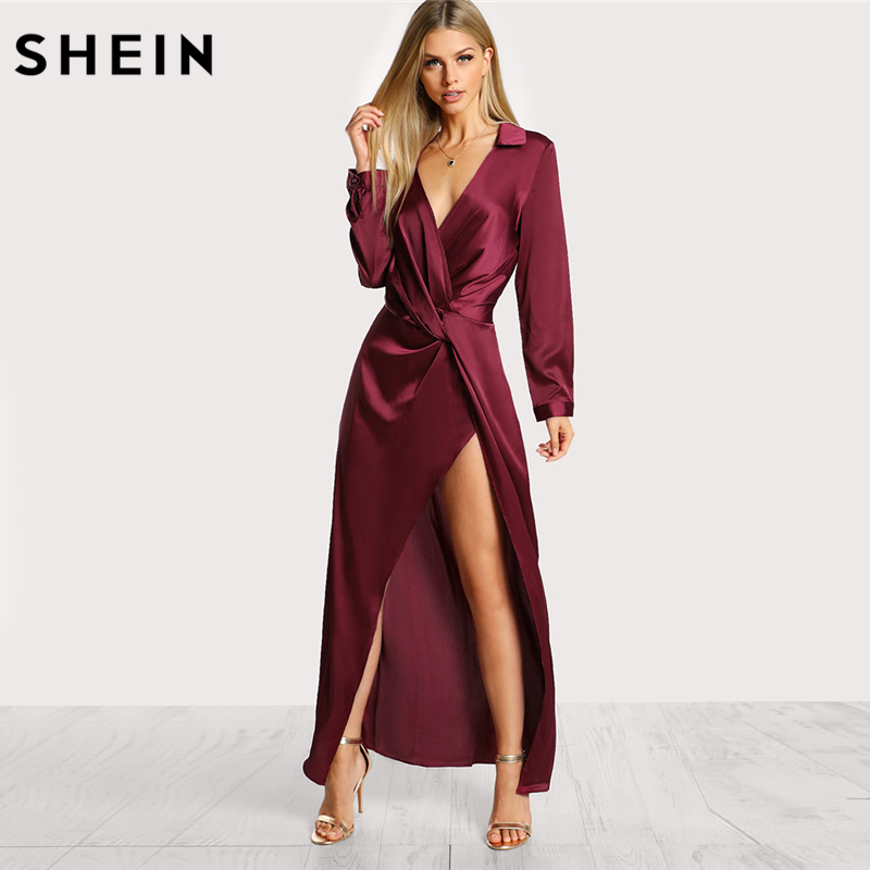SHEIN Burgundy Sexy Party Dress Satin Front Twist Wrap Dress Lapel Deep V Neck Long Sleeve Split Maxi Shirt Dress
