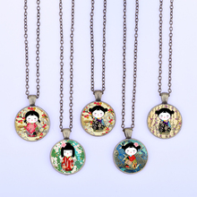 Cute Japanese Kokeshi Dolls Vintage Necklace Washi Yuzen Doll Glass Cabochon Pendant Women Girl Jewelry Party Favor Gift for kid(China)