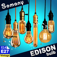 E14 E27 Retro Vintage Style Decor Lamp 40W 110V 220V Antique Incandescent Bulb C35 ST64 A19 T45 G80 G95 Filament Edison Light