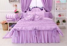 Luxury Lavender Lace Comforter Sets Queen/Twin Size, Romantic Pink Purple Princess Duvet Cover Set, Wedding Bedding,Bed Skirts(China)