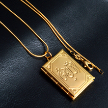 PATICO Fashion Jewelry For Women Stainless Gold Chain Necklace Rectangle Pendant Lovely Memory Frame Case Prayer Box Hot Sale