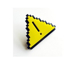 8-bit Pixel Cute Yellow Triangle Brooch Exclamation Symbol Mini Brooch Acrylic Jewelry