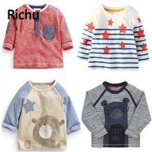 100%cotton long sleeve baby boys t-shirts girls tops 2dshirt sweat infant boy children shirts toddler carton funny christmas tee(China)